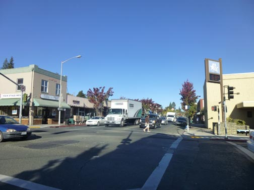 North Main Street at Bodega Avenue, 3 lanes of traffic coming at you. Is this a pleasant pedestrian experience?