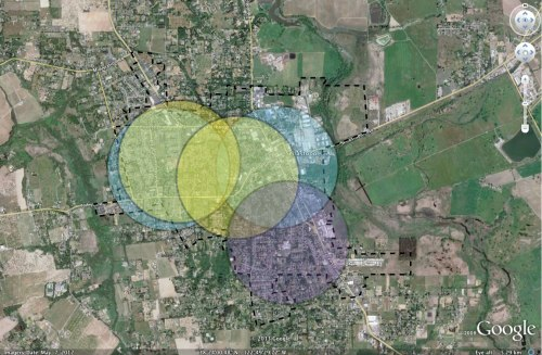 Circles indicate a half mile radius centered on existing school campuses. Yellow indicates Sebastopol School District campuses, blue indicates Sebastopol Charter School  campuses and purple indicates Sun Ridge/Reach campus
