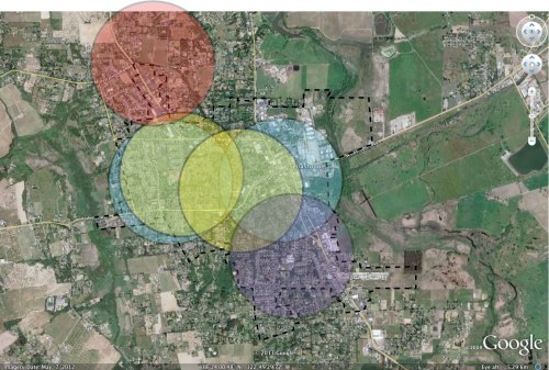 Again, circles represent a half-mile radius centered on school campuses. The red circle is centered on the location of the proposed Sebastopol Charter School campus. Note how few homes are located within a half mile of the site.
