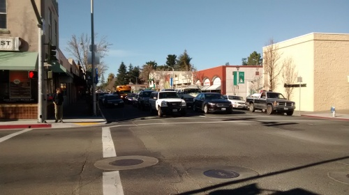 Looking North on Main Street at Bodega Ave., Sebastopol. This space is not being shared very well.