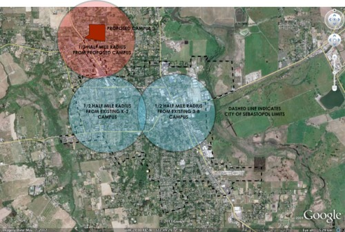 Locations of existing (in blue) and proposed (in red) Sebastopol Charter School Campuses