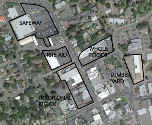 Downtown Sebastopol showing properties compared in this post.