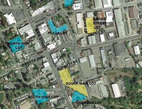 Proposed Brown St. and South Main parking structures, in yellow.