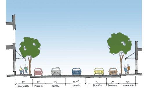 Section of Main Street existing condition (Bodega to Burnett)