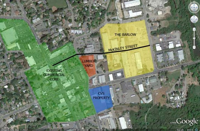 The lumber yard site is a critical link between the existing Main Street district and The Barlow.