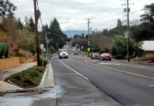 Healdsburg Ave., near the top looking east
