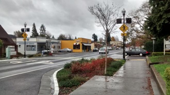 Street Smart Sebastopol crossing of Main Street and Calder