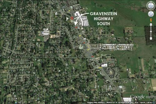 Gravenstein Hwy South - existing crosswalks are shown in yellow, proposed in red